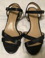 Talbots Navy Blue Leather Ankle Strap Women's Sandals Block Heel Size 6.5