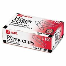 Acco Paper Clips No. 1 - 100/Box - 10/Pack - Part No. 72380 - New - Made in USA