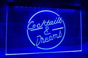 LARGE Cocktails and Dreams Neon LED Light Sign Bar Club Pub 40cm X 30cm