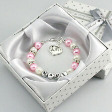 name Personalised Girl baby Birthday Christmas Gift Charm Bracelet pink with box