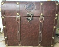 "vintage national wild turkey federation faux leather trunk 19""Hx20""Wx13.5"""