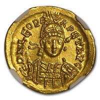 Eastern Roman Gold Solidus of Leo I (457-474 AD) Ch AU NGC - SKU#179201