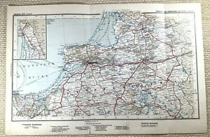 1905 Antique Railway Map of Prussian Rail Railroad Routes Konigsberg Sovetsk