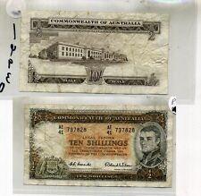 1954 AUSTRALIA TEN SHILLINGS CURRENCY BANK NOTE  VG FINE