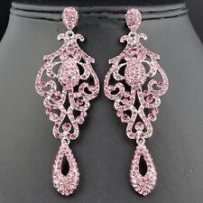 Chandelier Dangle Earrings E2090-Amethyst Pageant Austrian Crystal Rhinestone