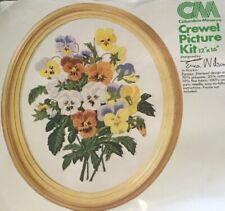 Pansies Flower Crewel Picture Kit #7685 Vintage Columbia Minerva 1976