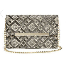 23c4df6d147 NWT GUESS Sandra Straw Clutch Crossbody Handbag Purse Chain Strap Black  Beige