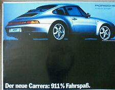 Porsche 911 Launch Poster Manifesto Official Original 1993 Excellent Rear View