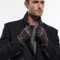 Men Touchscreen Texting Lambskin Leather Driving Gloves  (Cashmere/Fleece Lined)