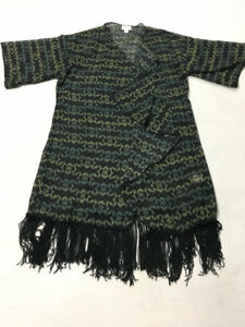 Lularoe S Monroe Kimono Cover Up Green Blue Black Geometric Fringe Small