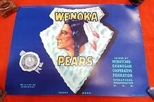 US GENUINE CRATE BOX JAR LABEL WENOKA PEARS OREGAN