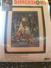 "Wintertime Friends Dimensions Needlepoint Kit 10 x 14"" 9117 Retired Fox Snowman"