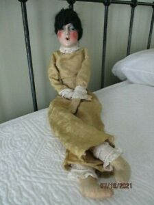 Antique French Smoker Boudoir Doll Redressed Mohair Wig