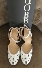 HOBBS SIZE 39 UK 6 ELIZABETH PUNCHED WHITE LEATHER SANDAL SHOES BNIB NEW £119