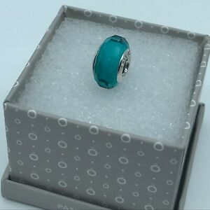 "Pandora "" Fascinating  Teal"" S925ALE Murano Glass Charm,791606   M1"