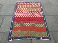 Vintage Traditional Hand Made Oriental Wool Red Blue Small Kilim 155x110cm
