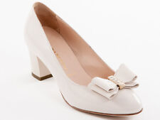 New Donna Serena Beige Patent Leather Made in Italy Shoes Size 38.5 US 8.5