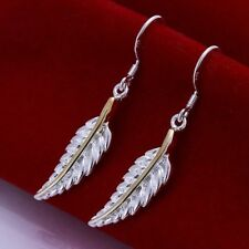 Hot 925Sterling Solid Silver Jewelry Gold feather Dangle Earrings For Women E038
