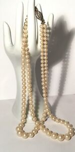 Vintage Faux Pearl Necklace,2 Strand,knotted,marcasite Clasp