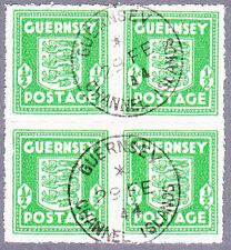 Guernsey Mi.Nr. 1 f gestempelter Viererblock, geprüft