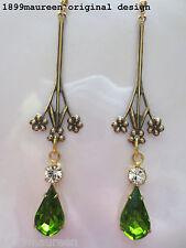 Art Nouveau Art Deco earrings peridot green 1920s Edwardian vintage style long