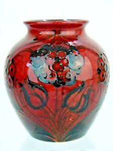 A Rare Wm Moorcroft Flambe Late Florian Pattern Vase. C1914