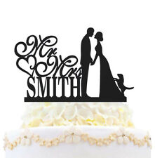 Mr & Mrs Family Wedding Cake Topper Personalized Bride And Groom With Dog Heart