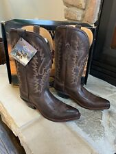 Old West Women's Dark Brown Leather Snip Toe Western Boots Size 7.5
