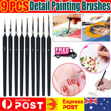 9Pcs Pro Extra Fine Detail Watercolour Painting Acrylic Miniature Paint Brushes