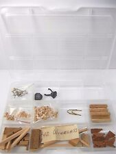 Vintage Model Wood Ship Boat Building Parts Accessories Kit Pieces w/ Organizer