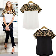 Summer Women Casual Loose Leopard Print Short Sleeve T Shirt Tops Chiffon Blouse