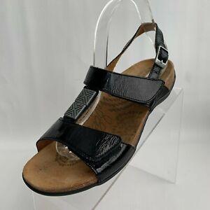 Dr. Andrew Weil Orthoheel Sandals Flat Strap Black Patent Leather Sz EU 40 US 9