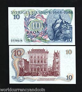 SWEDEN 10 KRONOR P56 1668-1968 Commemorative 300th HORSE CARRIAGE UNC BANKNOTE