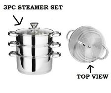 3PC 22CM STAINLESS STEEL STEAMER COOKER POT SET WITH GLASS LIDS 3 TIER PAN COOK