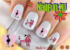 """RTG Set#144 DOG BREED """"Pink Poodle 2"""" WaterSlide Decals Nail Art Transfers Salon"""