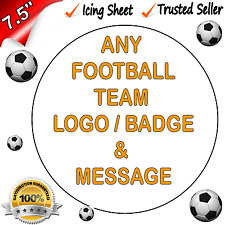 """FOOTBALL SPORTS TEAM *EDIBLE ICING* Cake Topper Personalised 7.5"""" Round Pre-cut"""