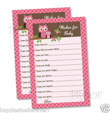 50 Girl Baby Shower WISHES FOR BABY game sheets favor PINK DAMASK OWL mommy