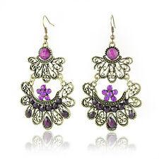 Vintage Style Bronze Chandelier Hollow Dark Purple Rhinestone Drop Earrings VE7
