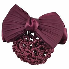 Practical Burgundy Bowknot Snood Net Barrette Hair Clip Bun Cover for Woman ED