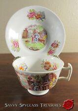 Transferware Porcelain Cup Saucer Set Mother Child in Garden Antique Polychrome