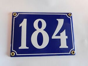 Antique French Blue  Genuine Enamel Porcelain House Door Number Sign / Plate 184