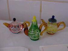 "Lenox ""Tea for Three"" Handcrafted Art Glass Mini Tea Pots with Original Box"