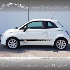 2 FASCE ADESIVE FIAT 500 ITALIA + 2 LOGHI 500 AUTO FIAT TUNING STICKERS DECAL