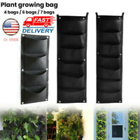 4/6/7 Pocket Wall Hanging Planting Bag Vertical Flower Grow Pouch Planter Garden