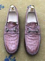 Gucci Men's Shoes Pink Ostrich Leather Horsebit Loafers UK 7.5 US 8.5 EU 41.5