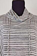 Staples Women's Turtleneck Top Size Medium Detachable Sleeves Striped M Cute