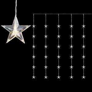 30 LED Sternenvorhang Lichtervorhang Stern Lichterkette 5 Stränge 120x90cm Innen