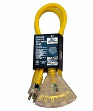Watt's Wire 12 Awg Grounded 6ft Heavy Duty Multi Outlet SJTW Extension Cord - 2'