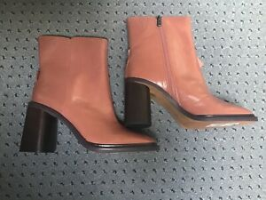 Brand New Women's M&S Autograph Pink Leather Ankle Boots With Zip Size UK 7.5
