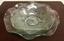 Pair of Iris & Herringbone Jeannette Clear Depression Glass Ruffled Fruit Bowls